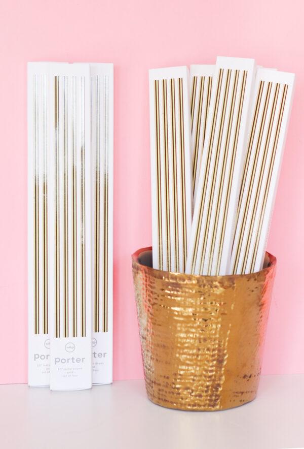 gold metal straws